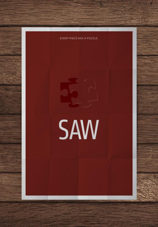 saw minimalistic movie posters