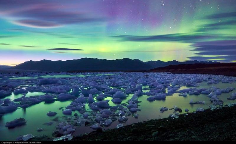 Aurora Borealis Over Iceland's Jokulsarlon Glacier Lake
